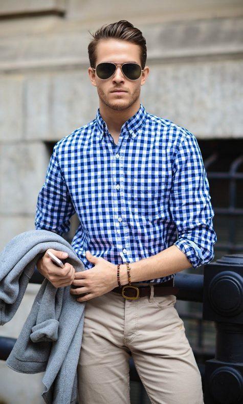 Bật mí tuyệt chiêu diện áo sơ mi kẻ cho chàng trai mùa thu: ca-rô trắng xanh biển.