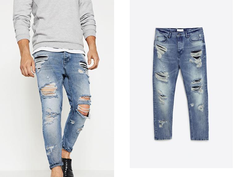 xu hướng quần jeans nam cuối năm 2016: quần Zara.