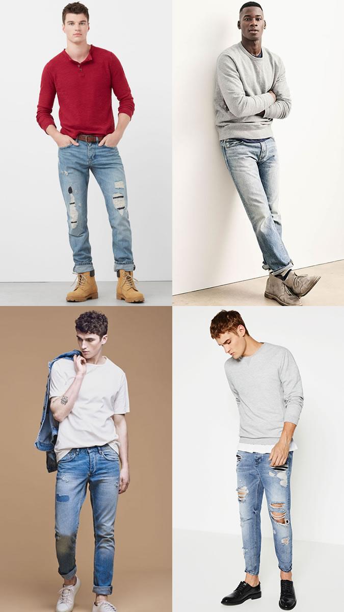 xu hướng quần jeans nam cuối năm 2016: quần sờn rách.