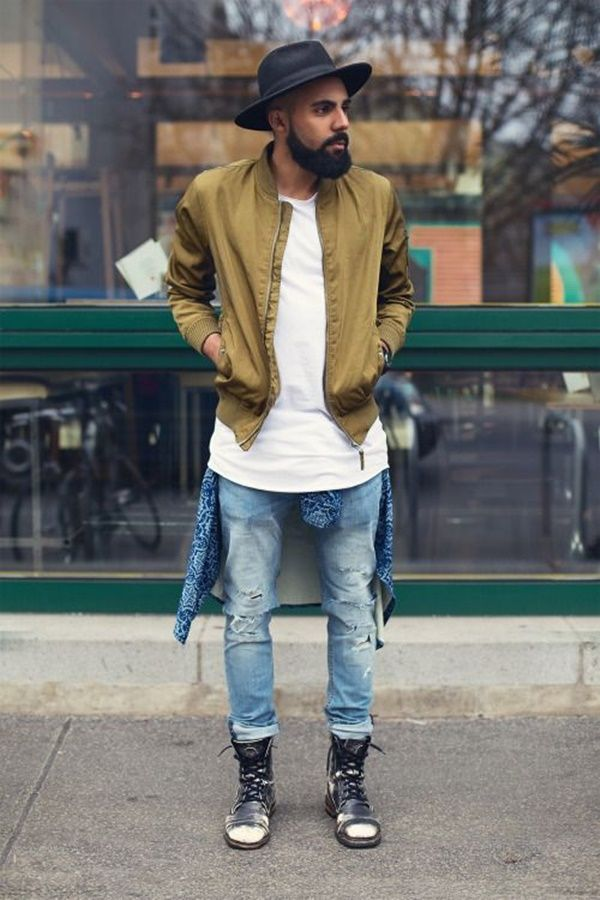 Mens Ripped White Jeans