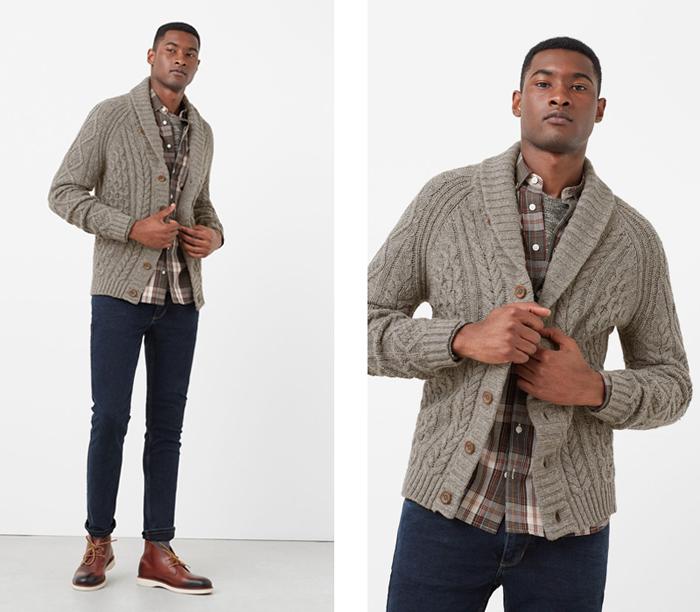 Áo khoác cardigan mặc cùng sơ-mi caro.