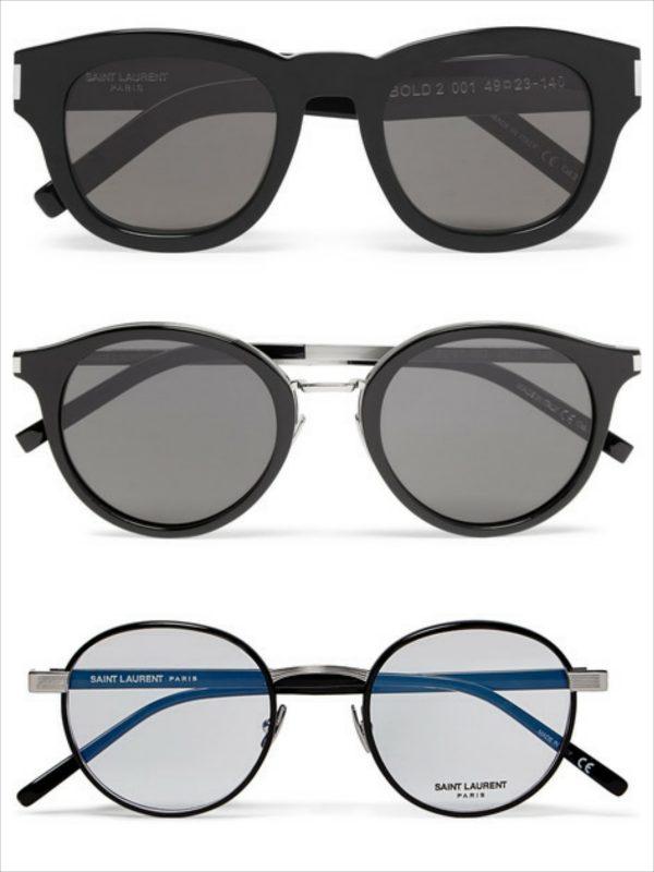 Sự đơn giản luôn đem tới vẻ tinh tế thanh thoát. Những gọng kính này sẽ không làm bạn bị so sánh với Nobita. Trên cùng: SAINT LAURENT D-Frame Acetate Sunglasses $375 Giữa: SAINT LAURENT Round-Frame Acetate And Silver-Tone Sunglasses $385 Dưới cùng: SAINT LAURENT Round-Frame Silver-Tone And Acetate Optical Glasses $400