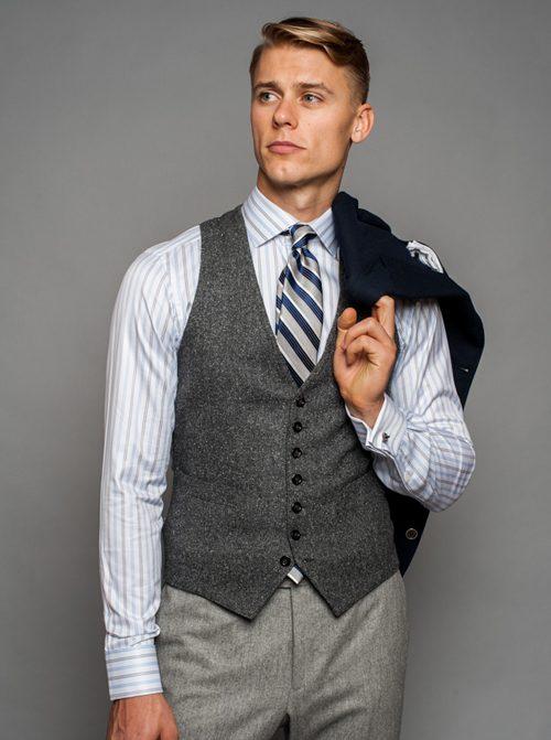 quy tắc cài nút đồ suit nam: áo khoác ghi-lê.