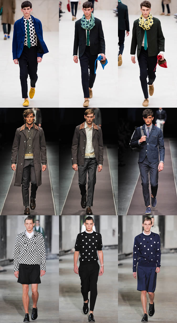 thời trang nam họa tiết chấm bi: thời trang catwalk.