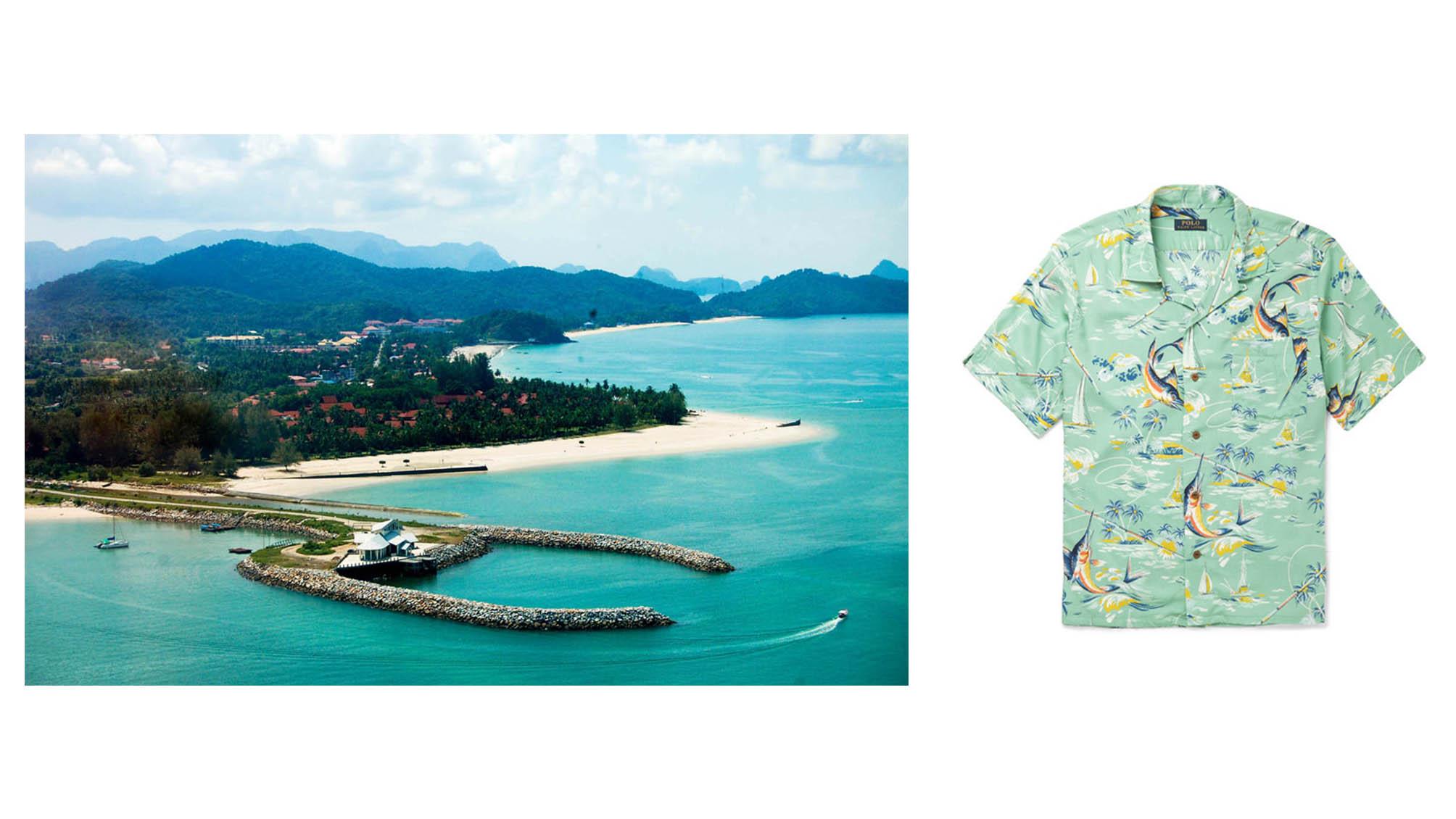 Đến Pulau Langkawi, hãy thật thoải mái mà vẫn sành điệu. POLO RALPH LAUREN Hawaiian-Print Camp-Collar Crepe Shirt €130