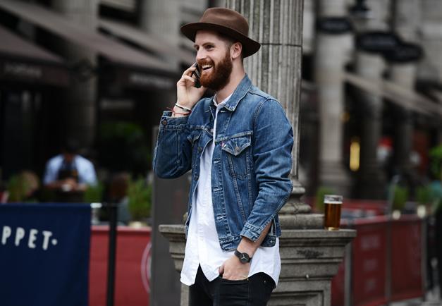 Áo khoác denim là một set đồ nam mang hơi hướng Vintage