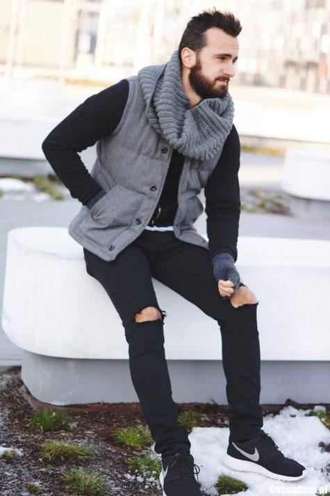 Quần Jeans nam đen rách gối