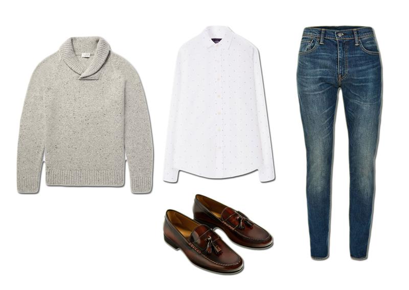 Áo sơ mi The Cosmo Áo sweater Club Monaco Quần jeans Levi's