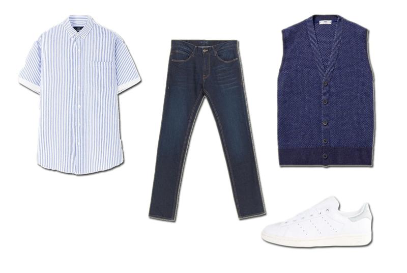 Áo sơ mi The Cosmo Áo sweater Inis Meáin Quần jeans Zara Giày adidas Stan Smith