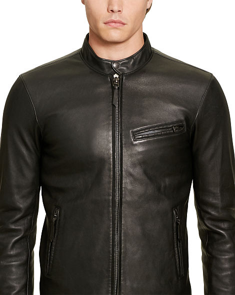 Áo da nam Ralph Lauren Purple Label 'Leather Biker' Jacket