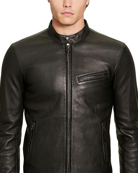Áo da nam Ralph Lauren Purple Label 'Leather Biker' Jacket