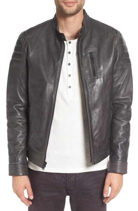 Áo da nam Lamarque Leather Moto Jacket in Steel Grey