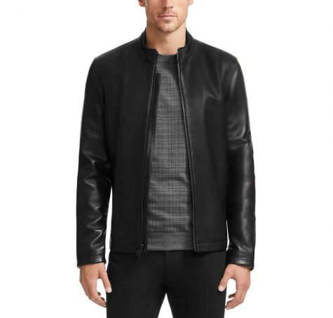 Áo da nam Vince Camuto Classic Zip-Up Black Leather Coat