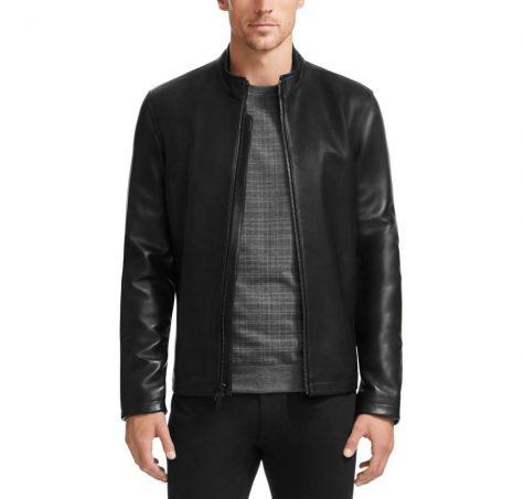 Áo da nam Vince Camuto Classic Zip-Up Black Leather Coat