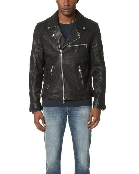 Áo da nam Baldwin 'Johnny' Leather Moto Jacket in Black
