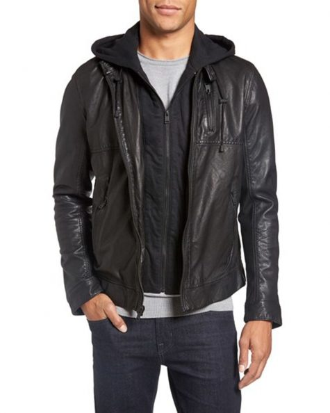 Áo da nam Leather Moto Jacket With Removable Hood