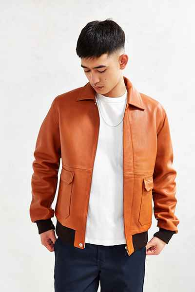 Áo da nam Wood-Wood 'Dean' Leather Jacket in Copper