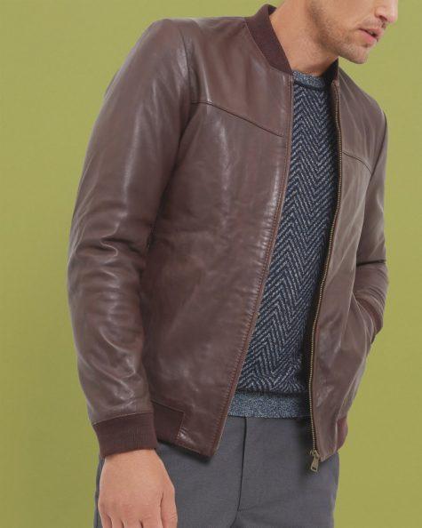 Áo da nam Ted Baker London Trim Fit Leather Bomber Jacket in Dark Red