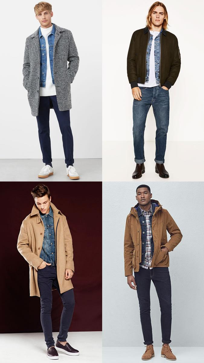 cách phối quần áo lạnh mùa Đông - denim + coat - elle man