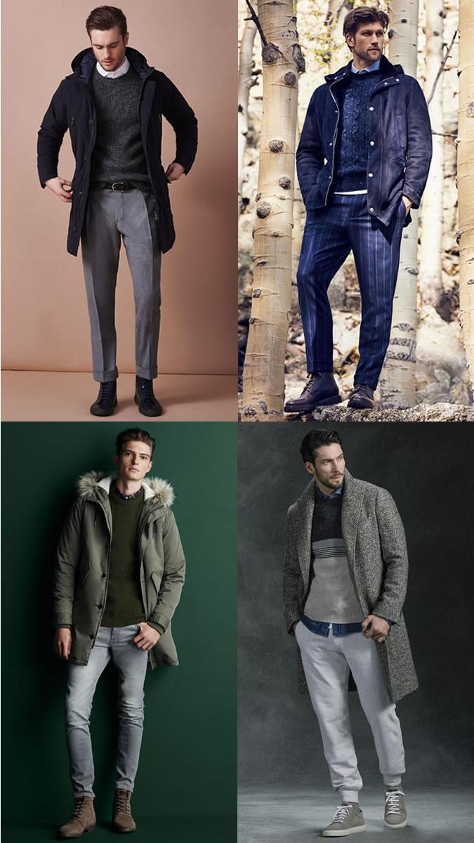 cách phối quần áo lạnh mùa Đông - shirt + crew neck sweater + outerwear - ELLE Man