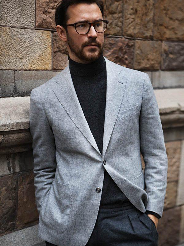 cách phối quần áo lạnh mùa Đông - roll neck + suit - ELLE Man
