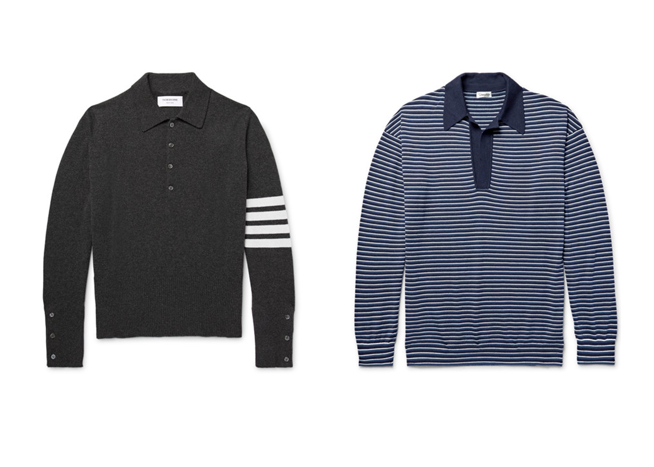 áo len nam Trái: THOM BROWNE Striped Cashmere Polo Shirt $1670 Phải: CAMOSHITA Striped Knitted Wool And Cashmere-Blend Polo Shirt $450