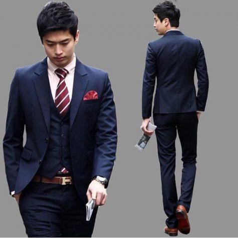 Cách phối quần áo: suit for short men
