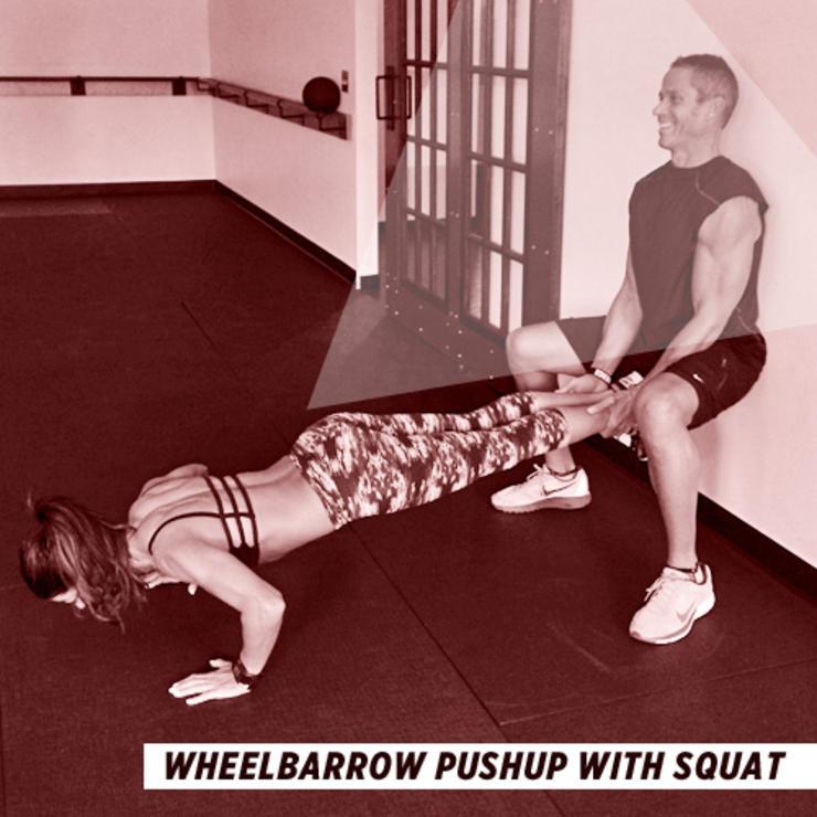 bài tập thể dục cho cặp đôi - Chống đẩy kết hợp với Squat - elle man