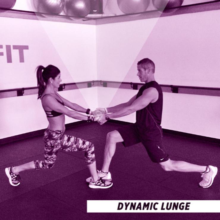 bài tập thể dục cho cặp đôi - dynamic lunge - elle man