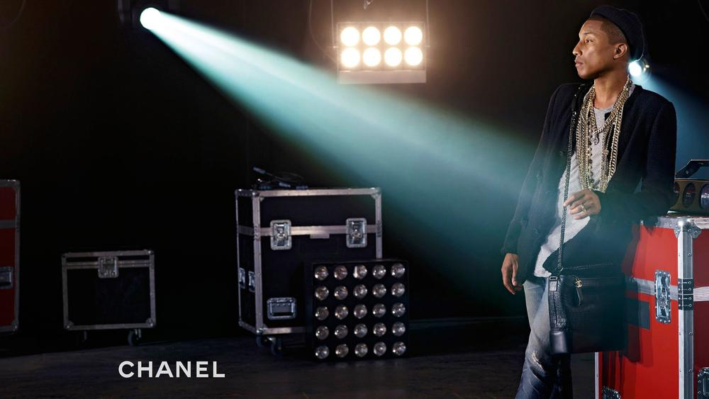 pharrell williams - chanel hadbag ads - elle man 2