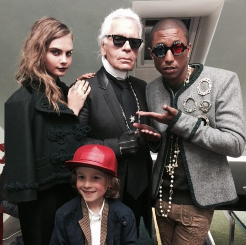 pharrell williams - with karl lagerfeld - elle man 2