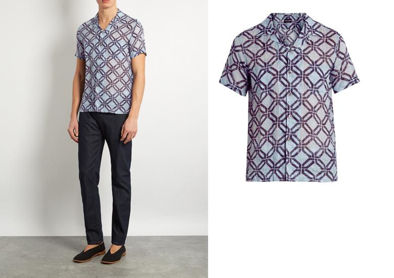 ao so mi nam co cuba - Giorgio Armani geometric-print shirt-sleeved shirt - elle man