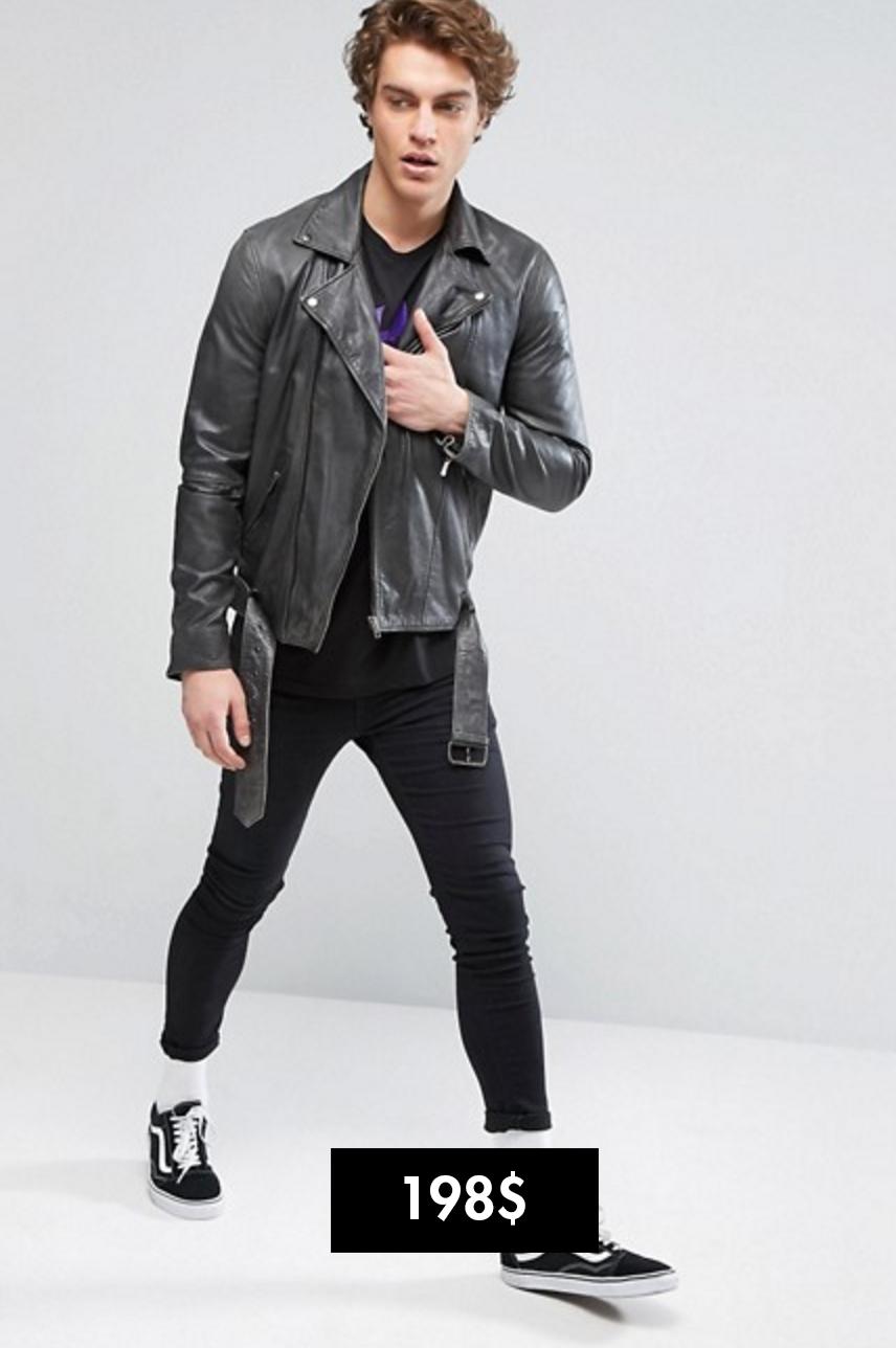 Asos áo khoác biker da Elle Man 2