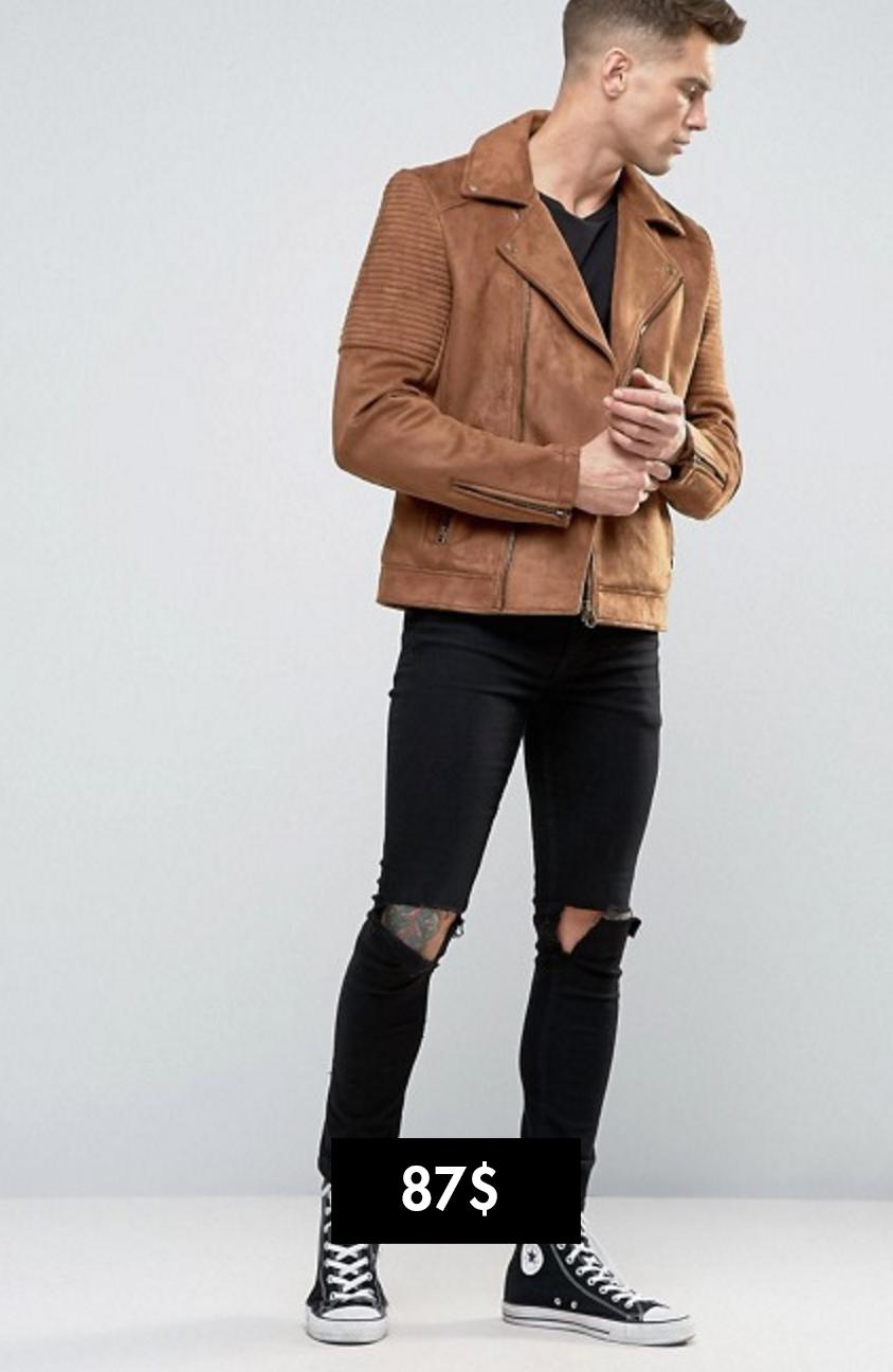 Asos áo khoác biker da Elle Man 3