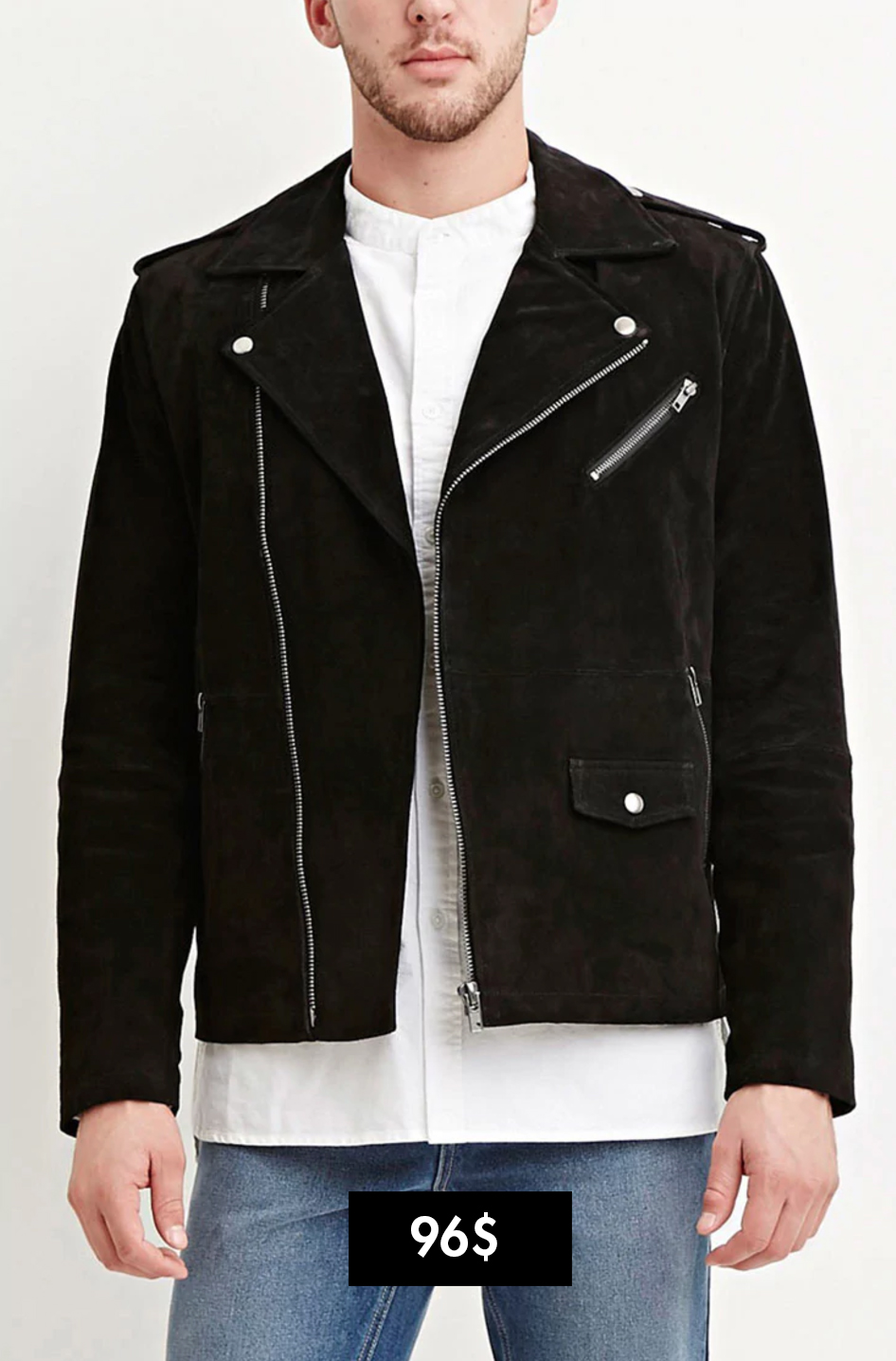 F21 áo khoác biker da Elle man 2