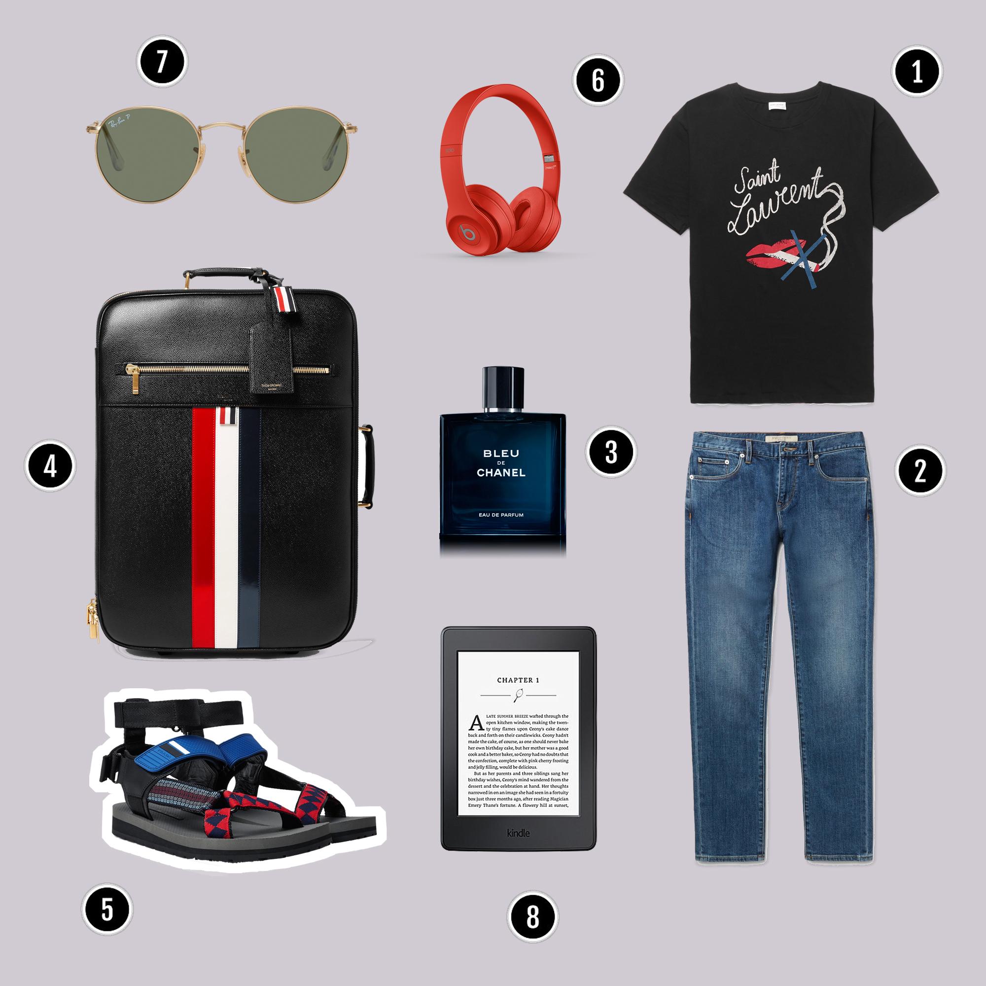 1.Áo : Saint Laurent / 2.Quần : Burberry / 3.Nước hoa : Chanel / 4.Vali : Thom Browne / 5.Sandals : Fendi / 6.Headphones : Beats / 7.Kính : Rayban / 8.Máy đọc sách : Kindle