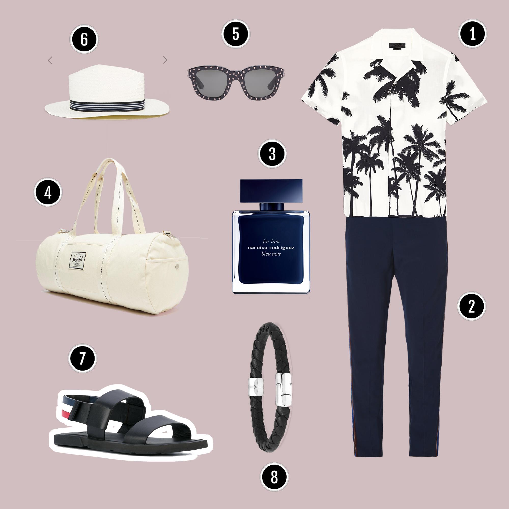 1.Áo : Zara / 2.Quần : Acne Studios / 3.Nước hoa : Narciso Bleu Noir / 4.Túi : Herchel / 5.Kính : Saint Laurent / 6.Nón : Asos / 7.Sandals : Thom Browne / 8.Vòng tay : BOTTEGA
