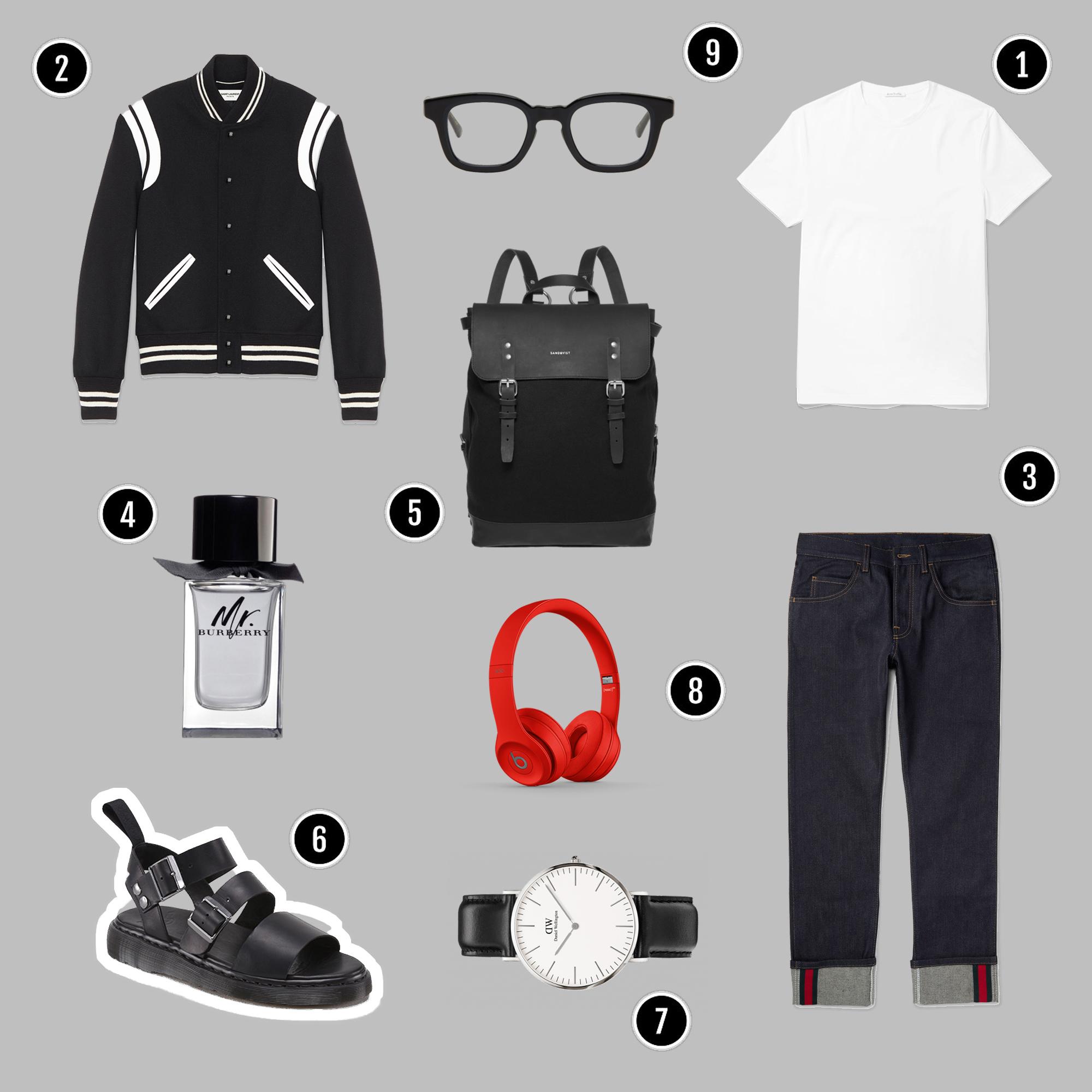 1.Áo thun : Acne Studios / 2.Áo khoác : Saint Laurent / 3.Quần : Gucci / 4.Nước hoa : Mr. Burberry / 5.Túi : Sanqvist / 6.Sandals : Dr.Martens / 7.Đồng hồ : DW / 8.Headphones : Beats / 9.Kính : Eyevan 7285