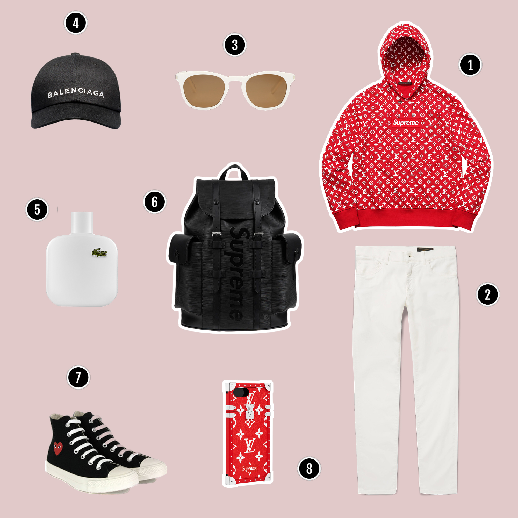 1.Áo hoodie : Louis Vuitton x Supreme / 2. Quần : D&G / 3. Kính : Saint Laurent / 4. Mũ : Balenciaga / 5. Nước hoa : Lacoste / 6. Túi backpack : Louis Vuitton x Supreme /. 7. Sneakers : Comme Des Garcon / 8. Ốp điện thoại : Louis Vuitton x Supreme