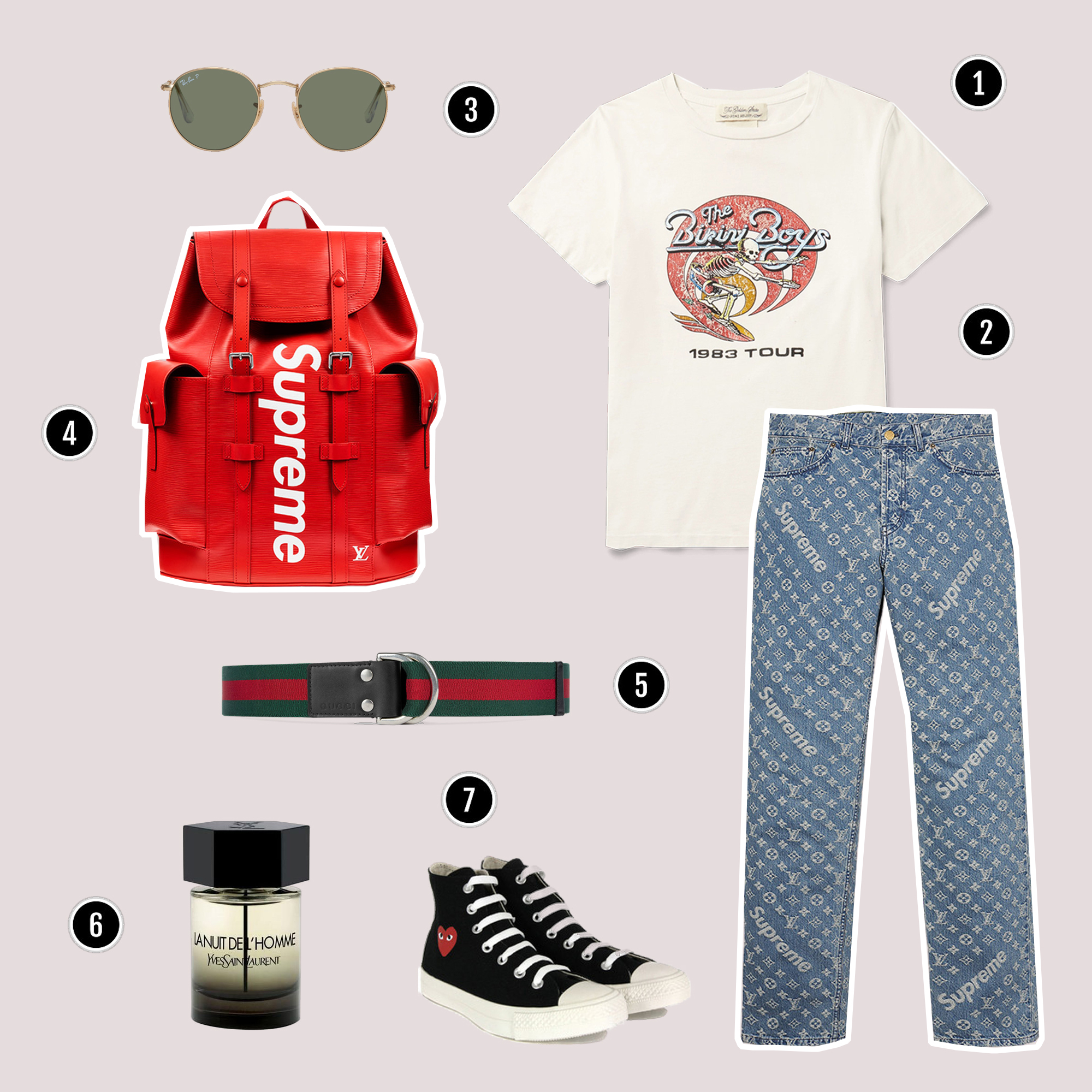1.Áo thun : REMI RELIEF / 2.Quần : Louis Vuitton x Supreme / 3.Kính : Rayban / 4.Túi backpack : Louis Vuitton x Supreme/ 5.Nịch : Gucci / 6.Nước hoa : Yves Saint Laurent / 7.Sneakers : Comme Des Garcon