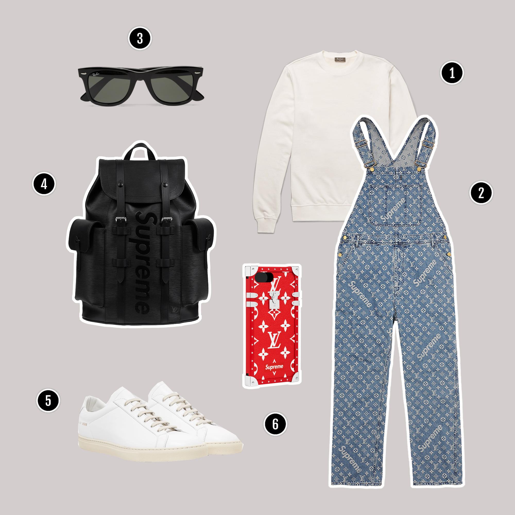 1.Áo : Berluti / 2. Overalls : Louis Vuitton x Supreme / 3. Kính : Rayban / 4. Túi : Louis Vuitton x Supreme / 5. Giày: Common Project / 6. Ốp điện thoại : Louis Vuitton x Supreme