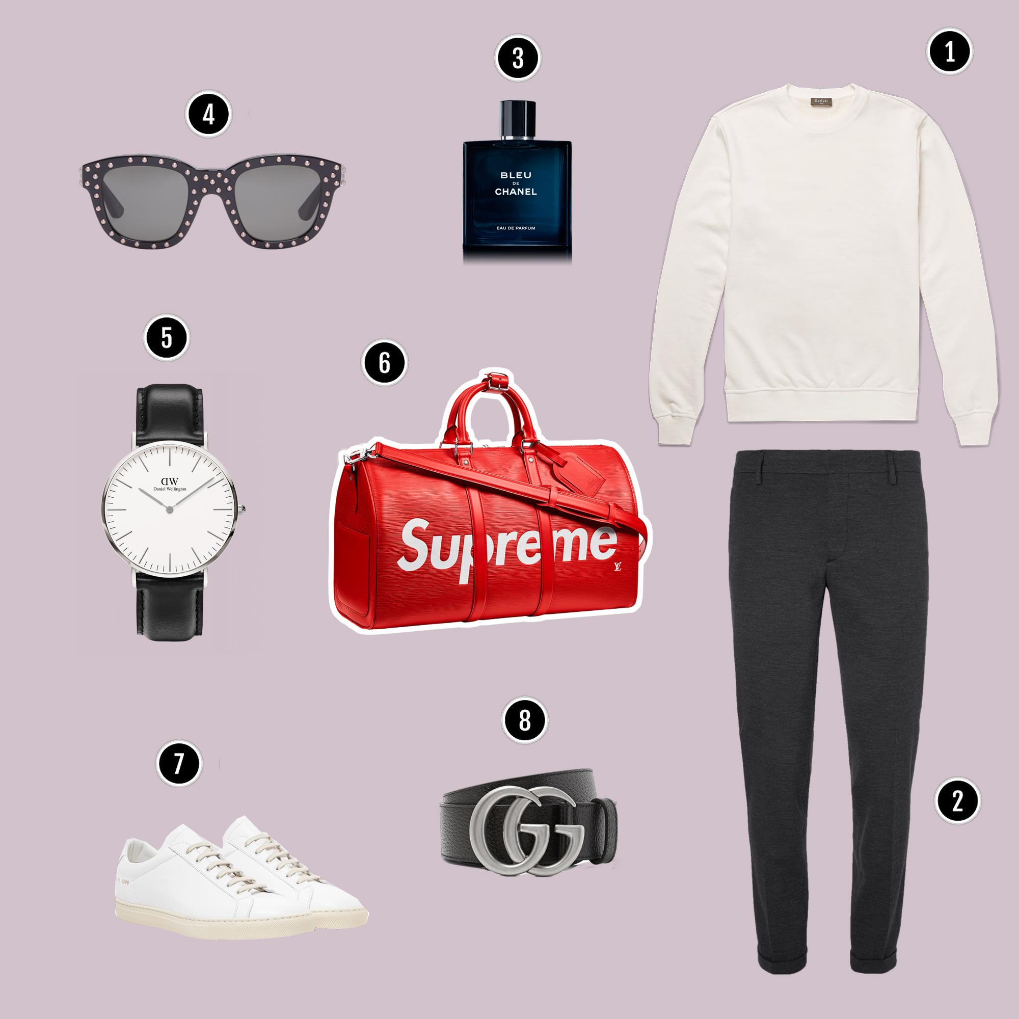 1.Áo : Berluti / 2. Quần: Prada / 3. Nước hoa : Chanel . 4. Kính : Saint Laurent / 5. Đồng hồ : DW / 6. Túi : Louis Vuitton x Supreme / 7. Giày: Common Project / 8. Nịch : Gucci