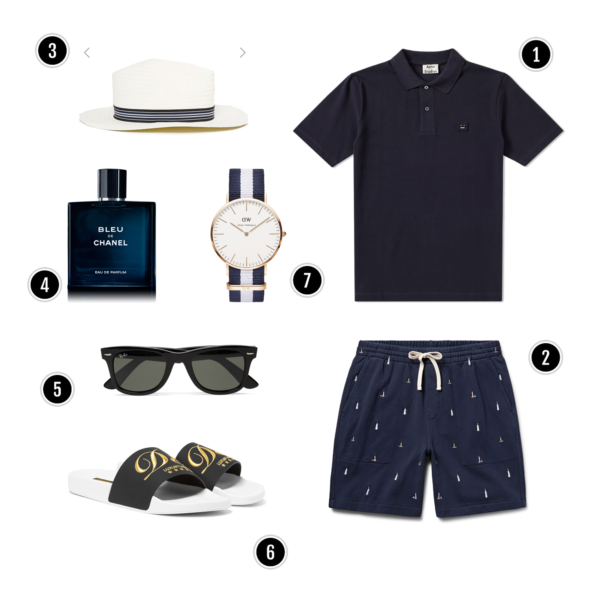 1, Áo: Acne / 2, Quần shorts : J.crew / 3, Mũ : Asos / 4, Nước hoa : Chanel/ 5,Kính: Rayban/ 6, Slipers: D&G / 7, Đồng hồ : DW