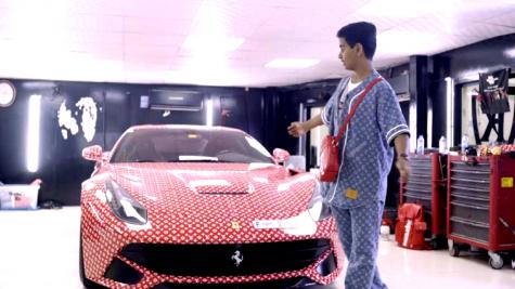 Money Kicks - Cậu ấm giàu nhất Dubai phủ kín siêu xe Ferrari với Supreme x LV