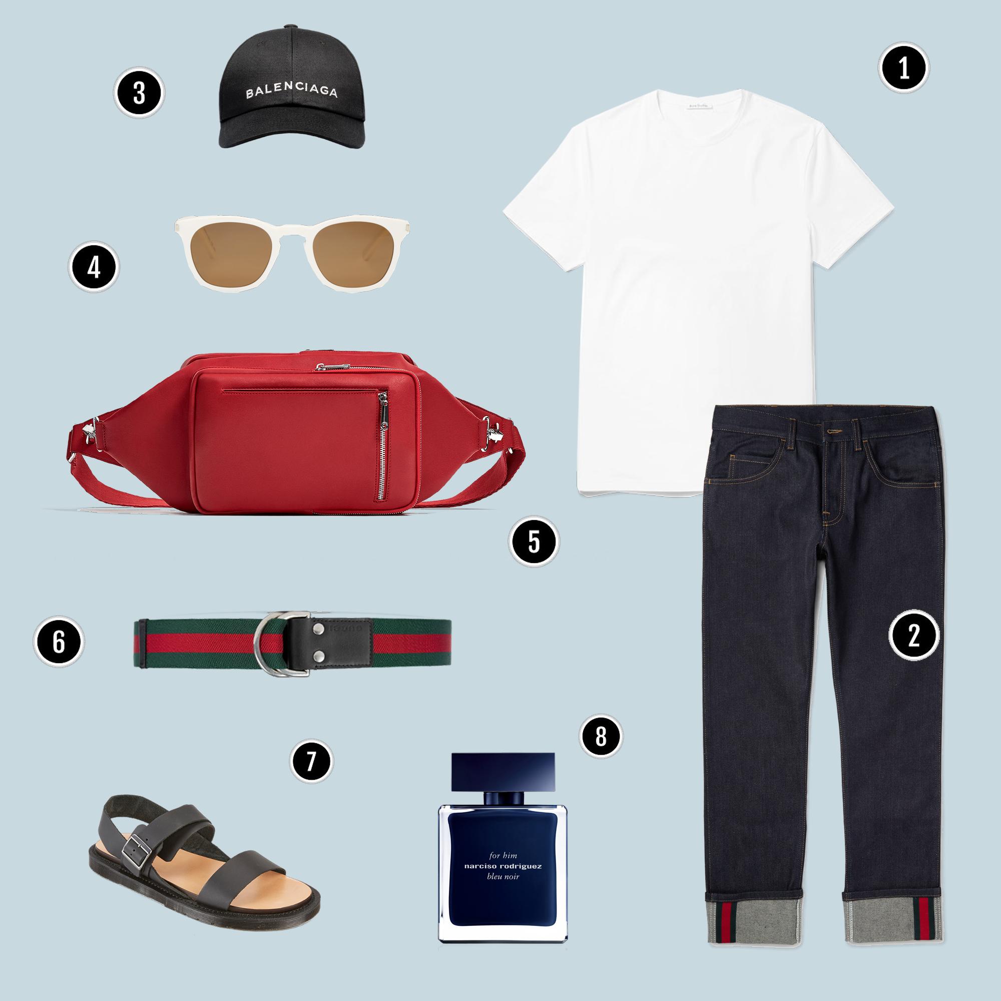 1. Áo: Acne / 2. Quần: Gucci / 3. Mũ: Balenciaga / 4. Kính: YSL / 5. Túi: Zara / 6. Belt: Gucci / 7. Sandals: Dr. Martens / 8. Nước hoa: Narcisso