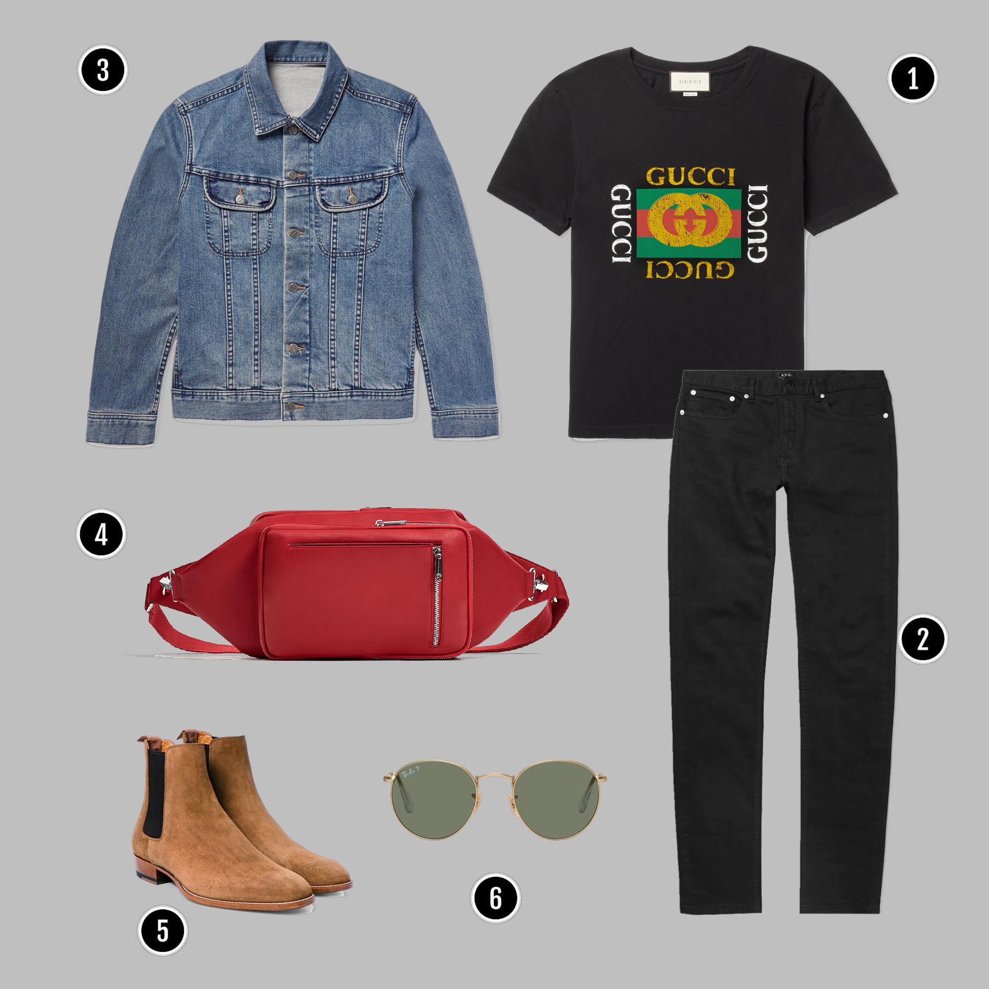 1. Áo: Gucci / 2. Quần: Acne / 3. Áo: APC / 4. Túi: Zara / 6. Belt: Gucci / 5. Giày: YSL/ 6. Kính: Rayban