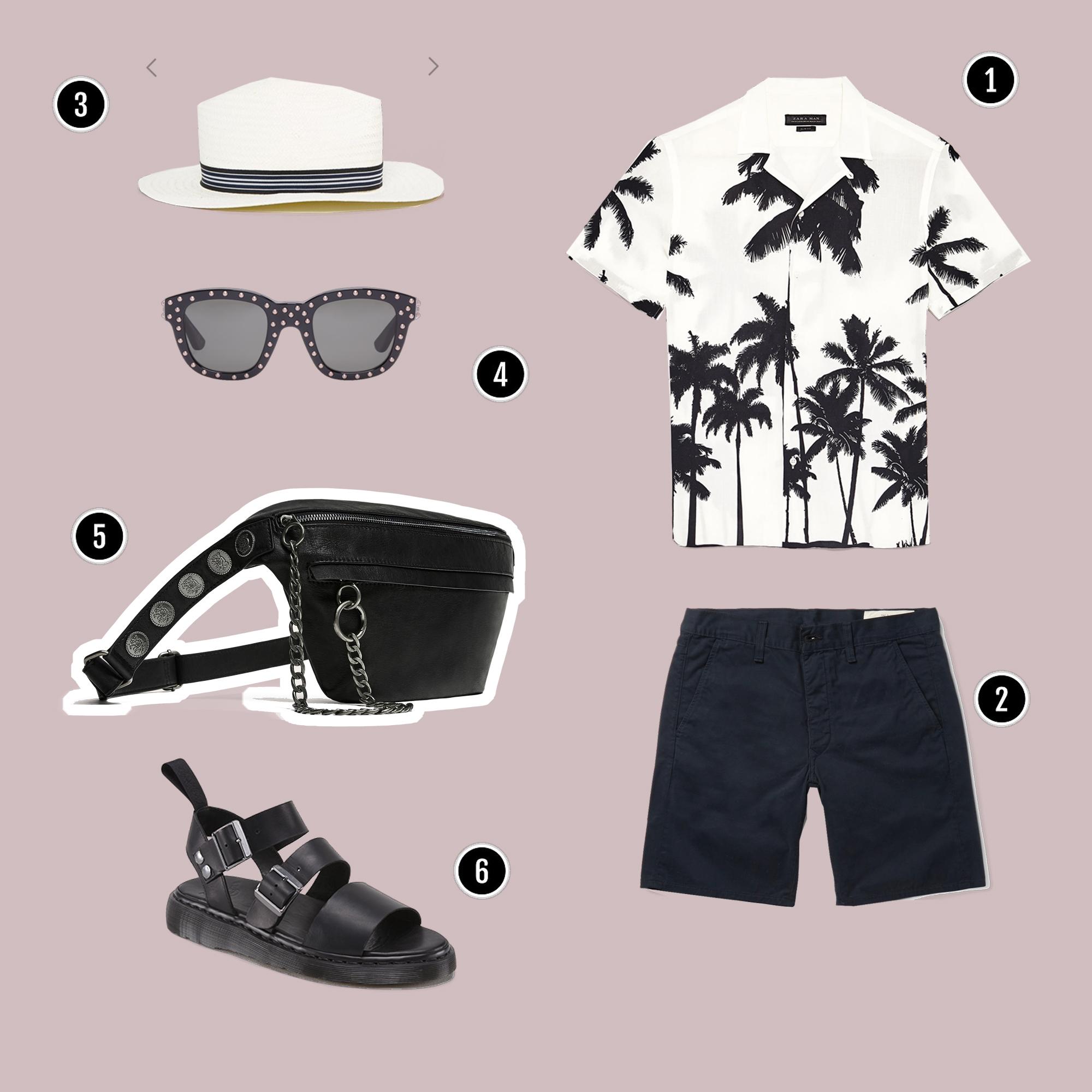 1. Áo: Zara/ 2. Quần: Rag&Bone / 3. Mũ: Asos / 4. Kính: YSL / 5. Túi: Zara / 6. Sandals: Dr. Martens