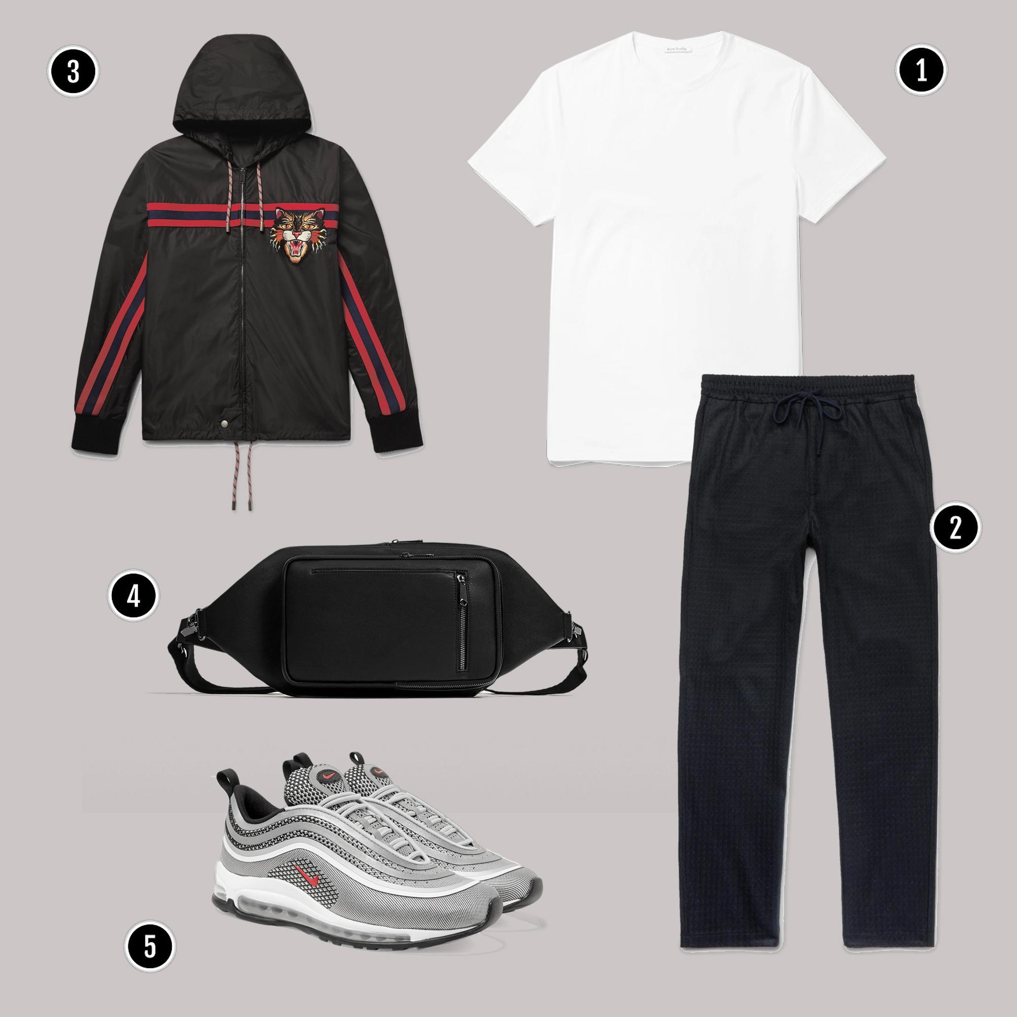 1. Áo: Acne / 2. Quần: Barena / 3. Áo: Gucci / 4. Túi: Zara / 5. Giày: Nike