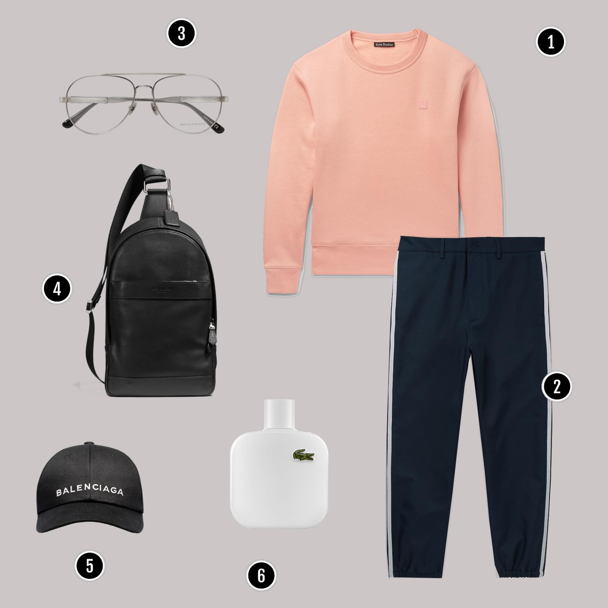 1. Áo: Acne / 2. Quần: Prada / 3. Áo: Gucci / 4. Túi: Zara / 5. Giày: Nike
