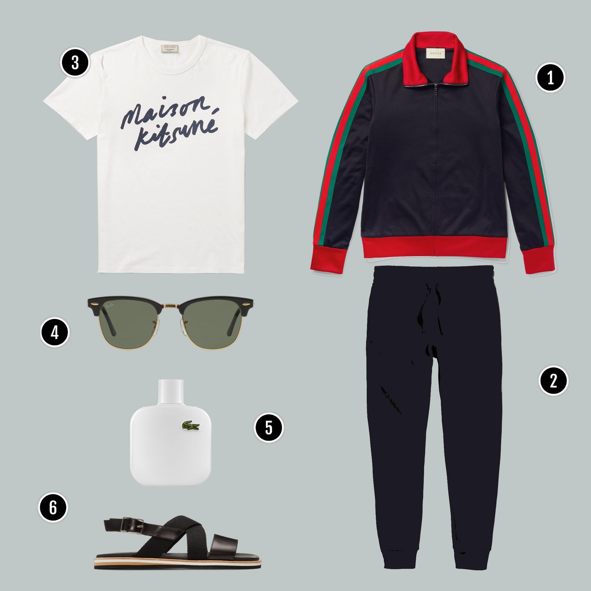 1. Áo: Gucci / 2. Quần: H&M/ 3. Áo: Maison Kisune/ 4. Kính: Rayban / 5. Nước hoa: Lacoste/ 6. Giày: Marni
